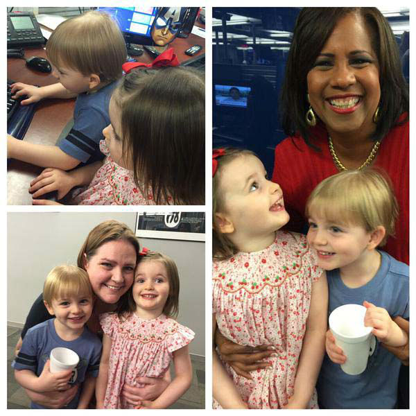 """<div class=""""meta image-caption""""><div class=""""origin-logo origin-image none""""><span>none</span></div><span class=""""caption-text"""">Producer Lauren brought her little ones to work, and they hung out with Melanie in the newsroom (KTRK Photo)</span></div>"""