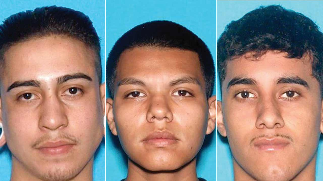 German Monrreal, 19, Mario Godina Jr., 19, and Estevan Manuel Castillo, 20, are seen in these photos provided by the Los Angeles County Sheriff's Department.