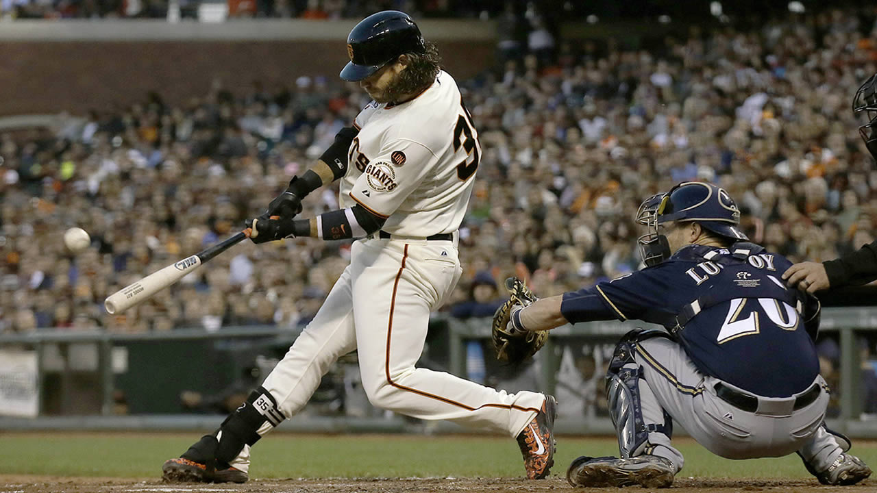 San Francisco Giants' Brandon Crawford hits a two-run home run