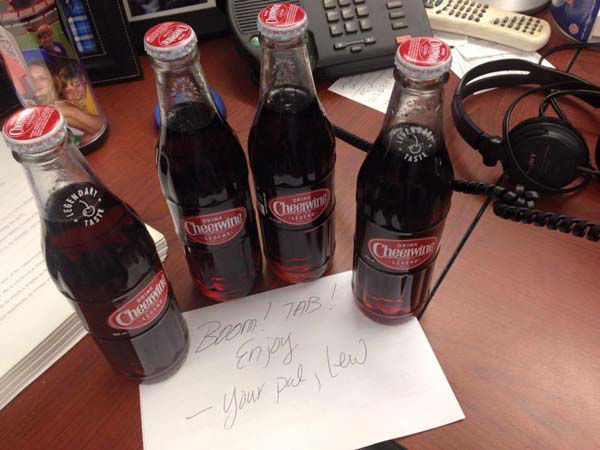 """<div class=""""meta image-caption""""><div class=""""origin-logo origin-image none""""><span>none</span></div><span class=""""caption-text"""">After Tom Abrahams posted about his love of Cheerwine, these showed up on his desk! (KTRK Photo)</span></div>"""