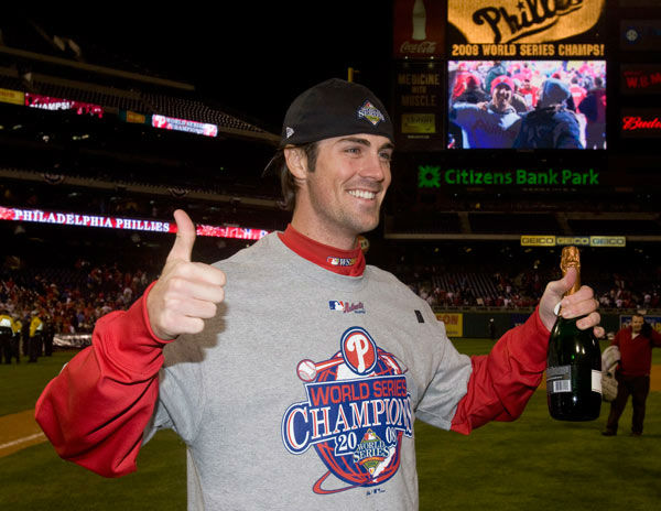"<div class=""meta image-caption""><div class=""origin-logo origin-image none""><span>none</span></div><span class=""caption-text"">Cole Hamels celebrates on the field after Game 5 of the baseball World Series in Philadelphia, Wednesday, Oct. 29, 2008. (Photo/Chris O'Meara)</span></div>"