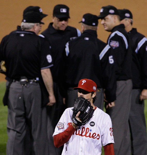 <div class='meta'><div class='origin-logo' data-origin='none'></div><span class='caption-text' data-credit='Photo/Julie Jacobson'>Cole Hamels waits while umpires discuss a hit by New York Yankees' Alex Rodriguez during Game 3 of the World Series, Oct. 31, 2009, in Philadelphia.</span></div>