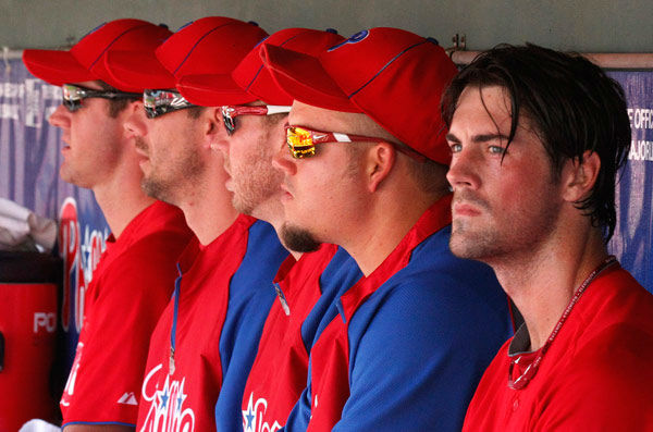 <div class='meta'><div class='origin-logo' data-origin='none'></div><span class='caption-text' data-credit='Photo/Gene J. Puskar'>Cole Hamels sits in the dugout with fellow Phillies starting pitchers Roy Oswalt, Cliff Lee, Roy Halladay, and Joe Blanton during spring training, March 24, 2011.</span></div>