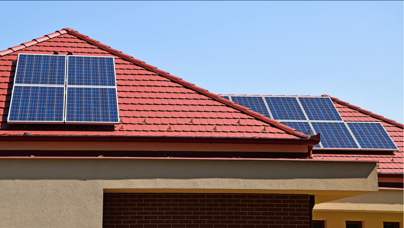 Solar panels mounted on the roof of a home.