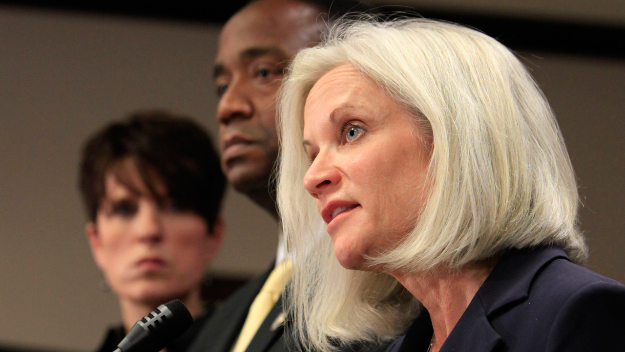 FILE -- Melinda Haag, the United States Attorney for the Northern District of California, speaks at news conference.
