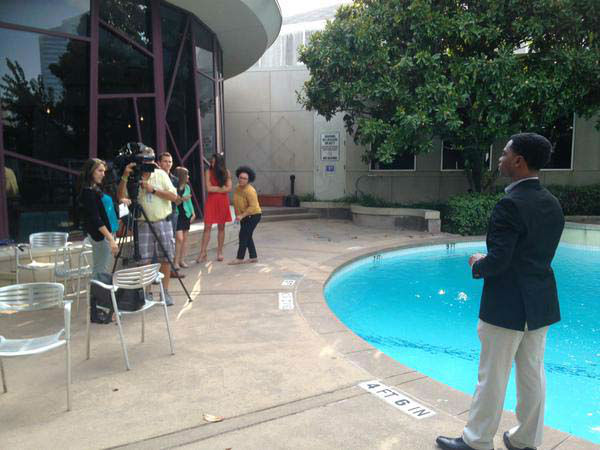 """<div class=""""meta image-caption""""><div class=""""origin-logo origin-image none""""><span>none</span></div><span class=""""caption-text"""">Our interns getting some on-air practice by the pool (KTRK Photo)</span></div>"""