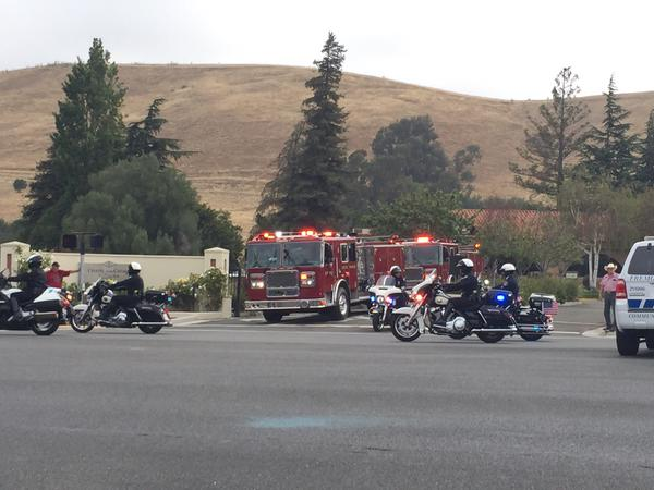 "<div class=""meta image-caption""><div class=""origin-logo origin-image none""><span>none</span></div><span class=""caption-text"">Members of the Hayward police and fire departments follow Sgt. Scott Lunger's memorial procession to Oakland, Calif. on July 30, 2015. (KGO-TV/Janet O)</span></div>"