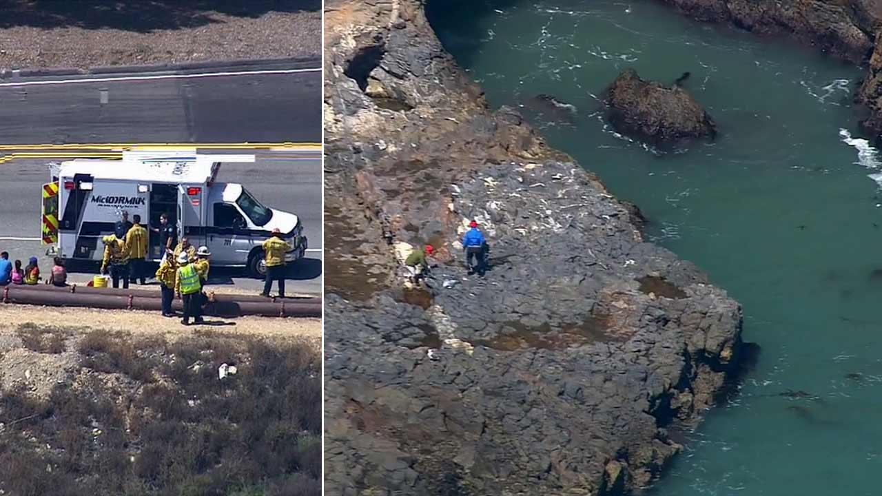 Two swimmers were rescued by lifeguards from Inspiration Point in the 5300 block of Palos Verdes Drive in Rancho Palos Verdes Thursday, July 30, 2015.