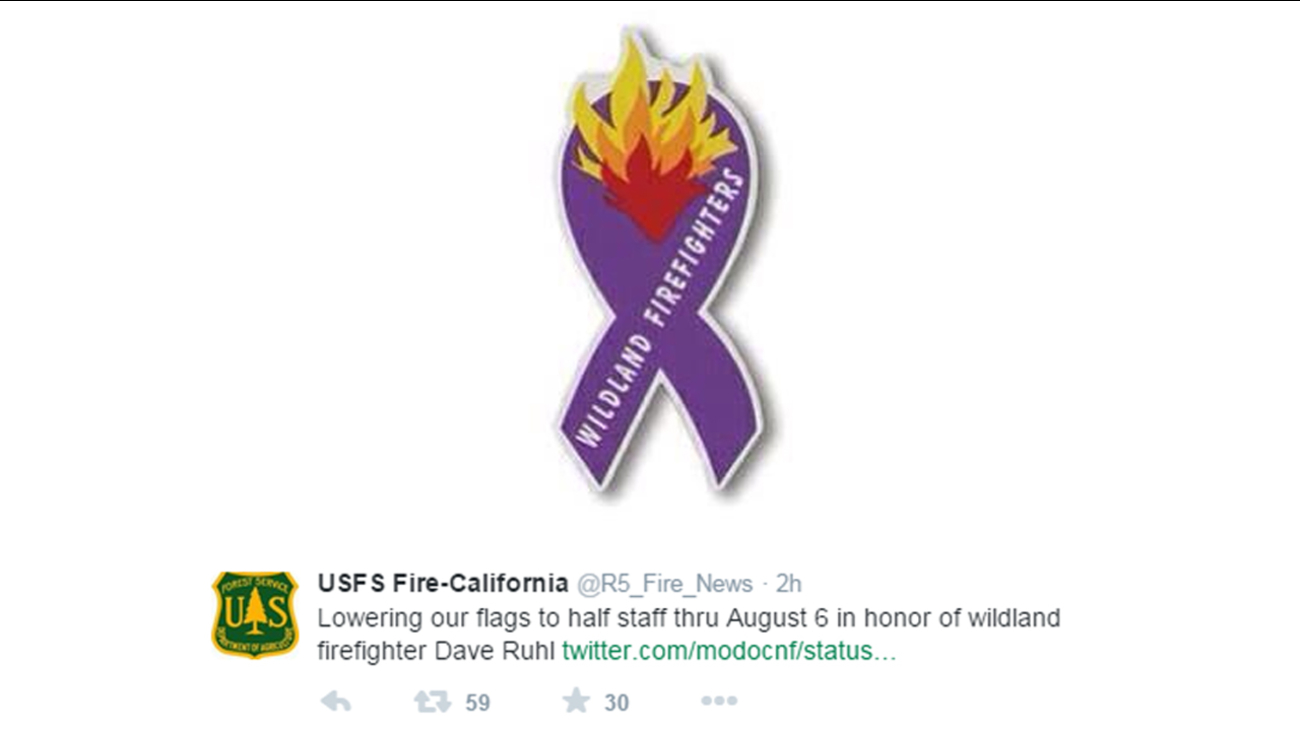 U.S. Forest Service Firefighter Dave Ruhl died while on assignment at the Frog Fire burning in the Modoc National Forest outside Alturas, California