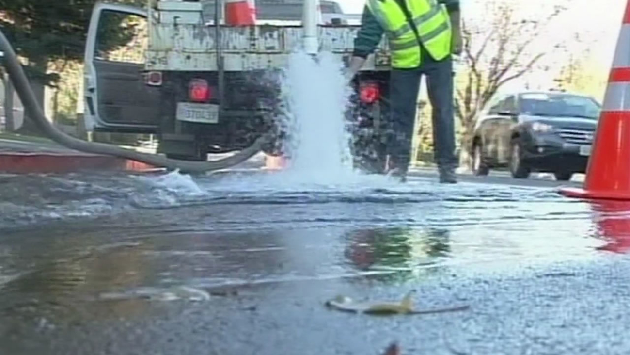 Crews let thousands of gallons wash down the drain