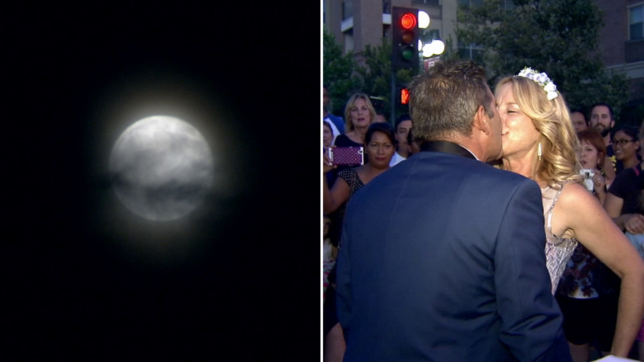 A Monrovia couple got hitched under the rare light of the blue moon on Friday, July 31, 2015.