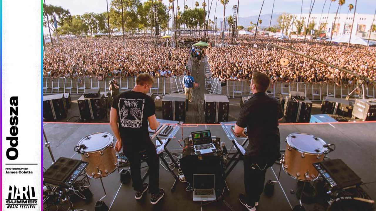 Electronic music duo Odesza performs at HARD Summer at the Fairplex in Pomona Saturday, Aug. 2, 2015.
