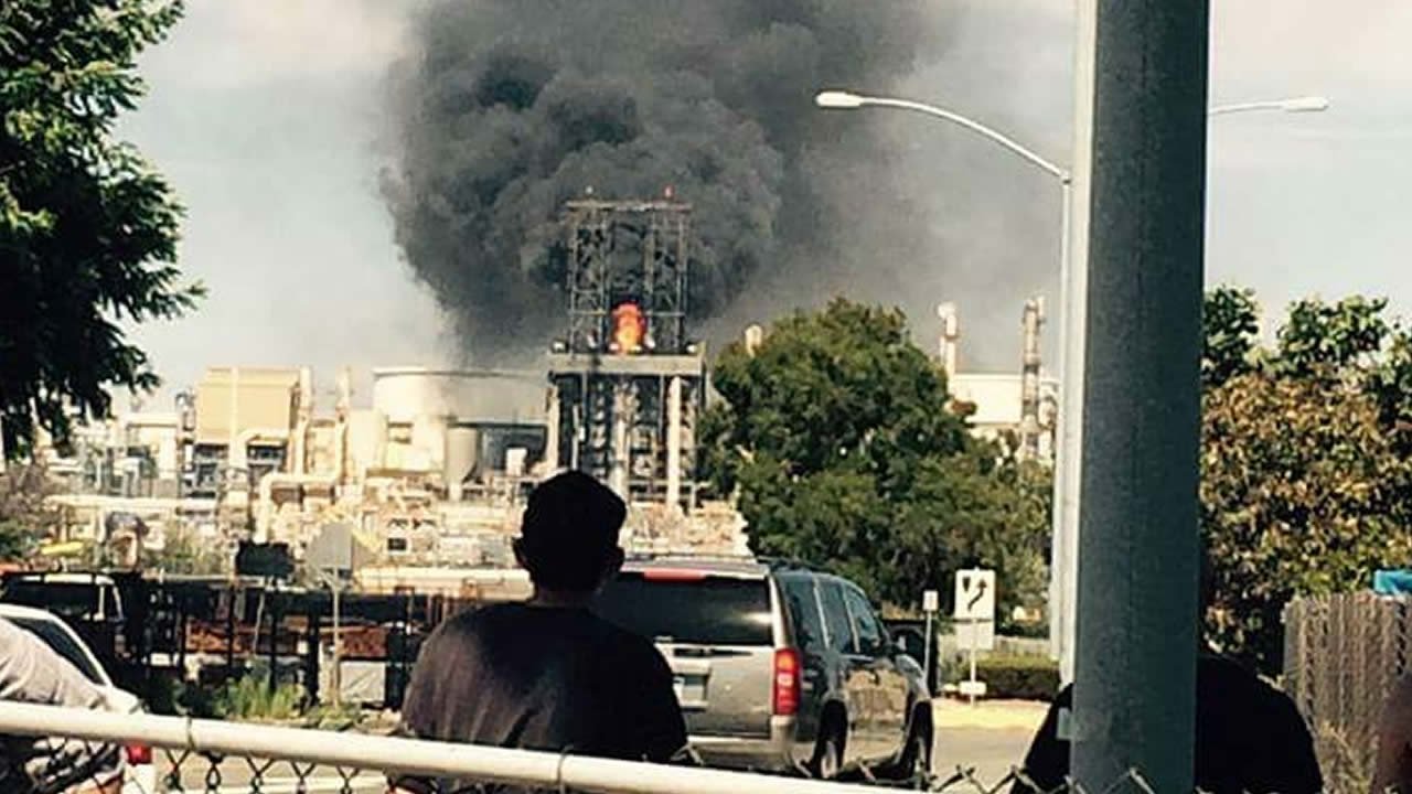 This photo shows smoke from a fire at the Phillips 66 refinery in Rodeo, Calif. on Sunday, August 2, 2015.