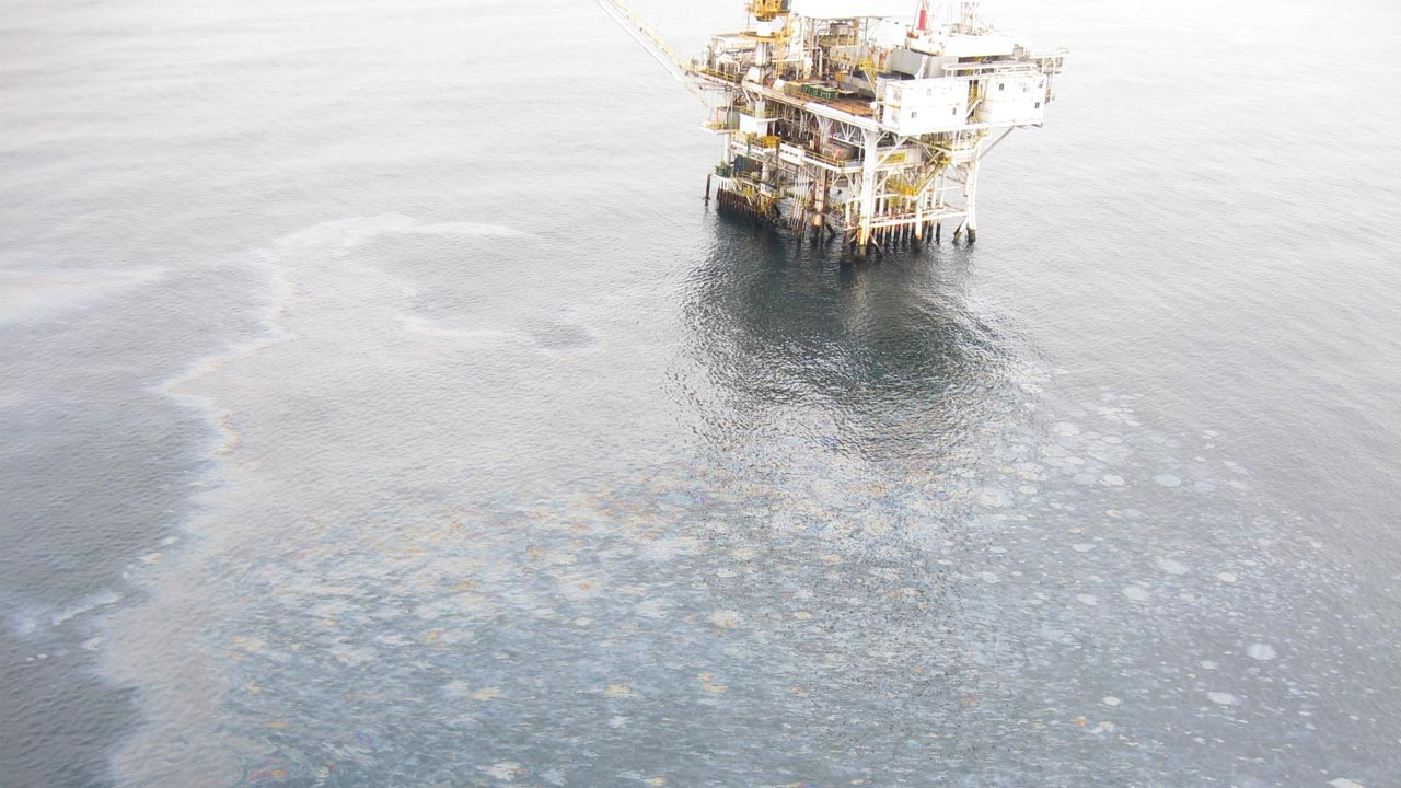 The U.S. Coast Guard released this image of a large oil sheen spotted off the coast of the Goleta Beach shore on Wednesday, July 29, 2015.
