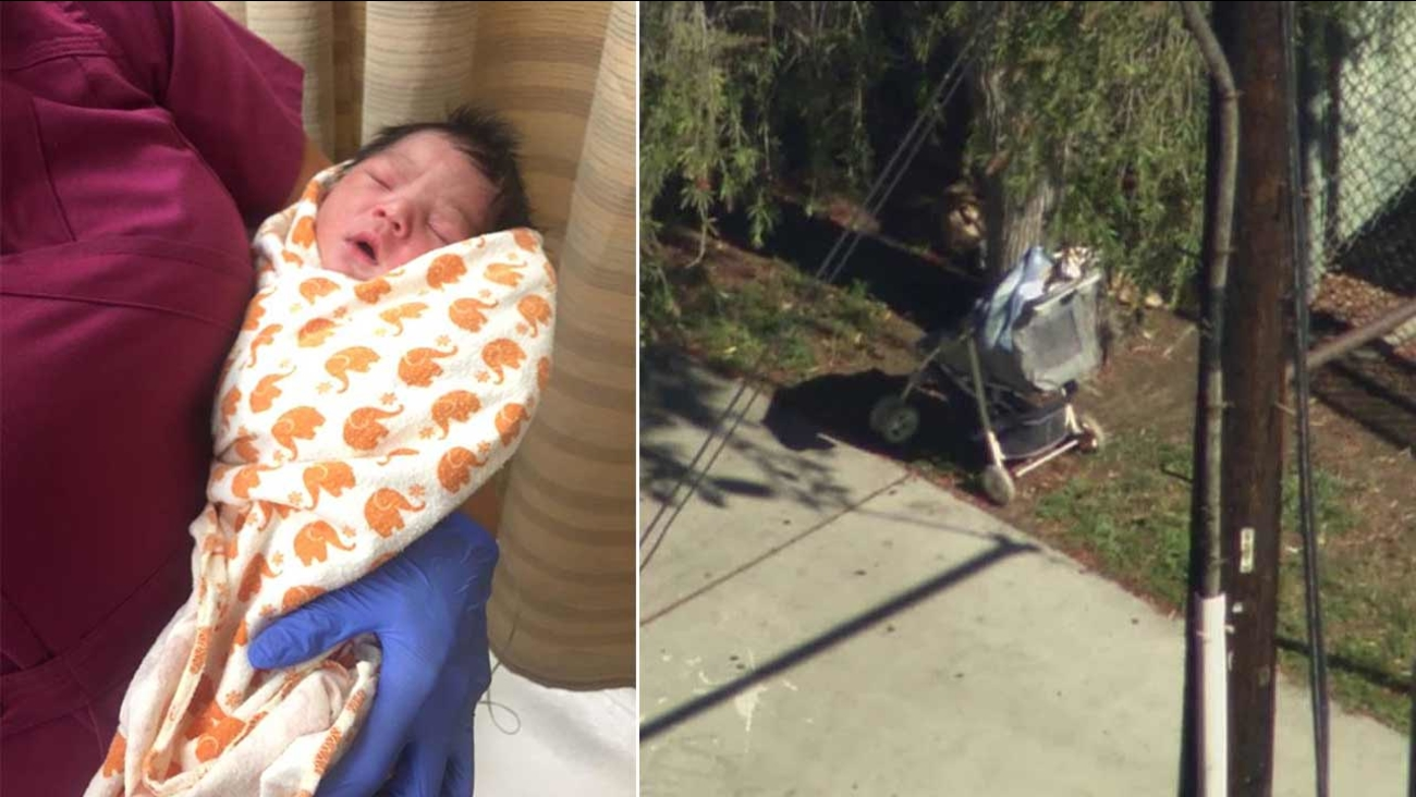A newborn baby was found unattended in a stroller near Vermont Avenue and Dana Street in South Los Angeles on Tuesday, Aug. 4, 2015.