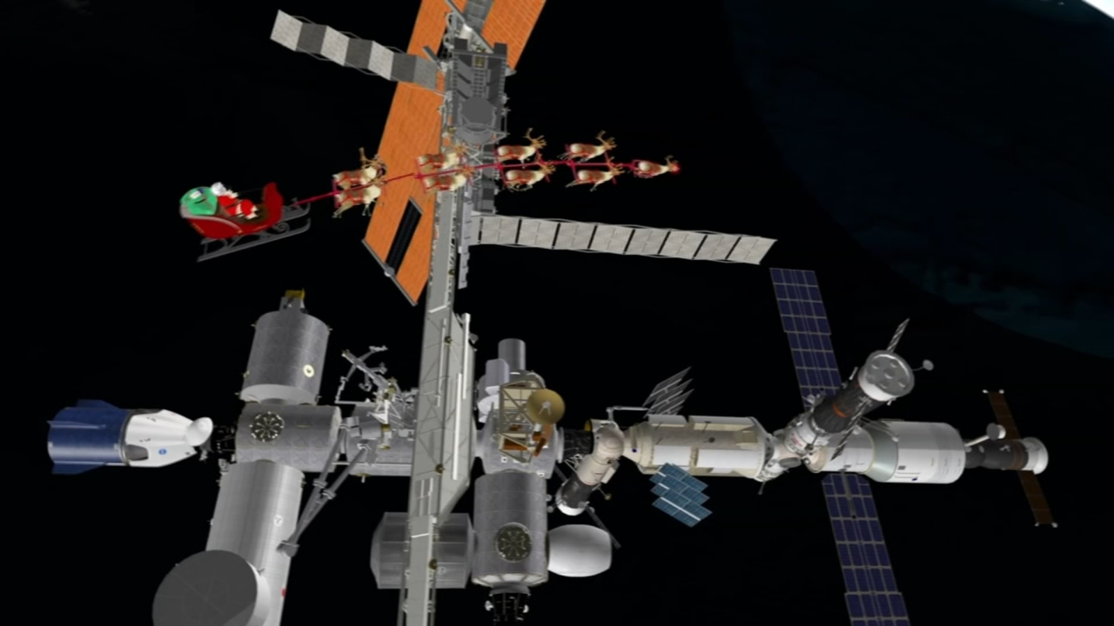 Santa Claus visits astronauts at International Space Station during trip around the world