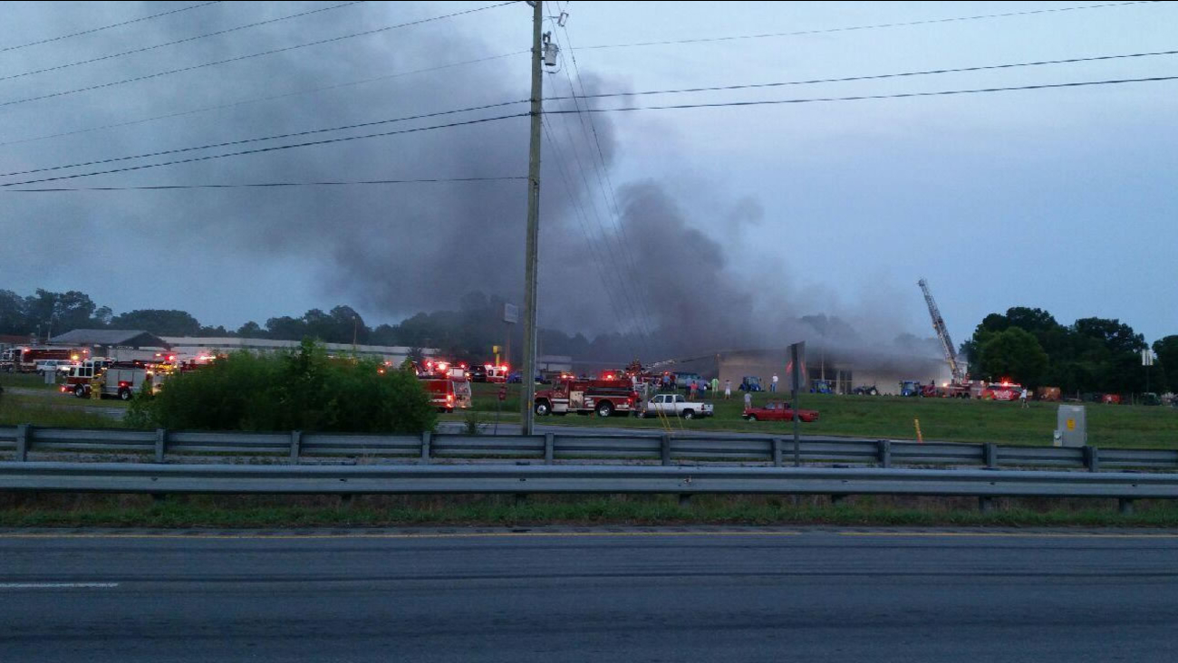 Smoke was seen pouring from Aycock Tractor in Goldsboro
