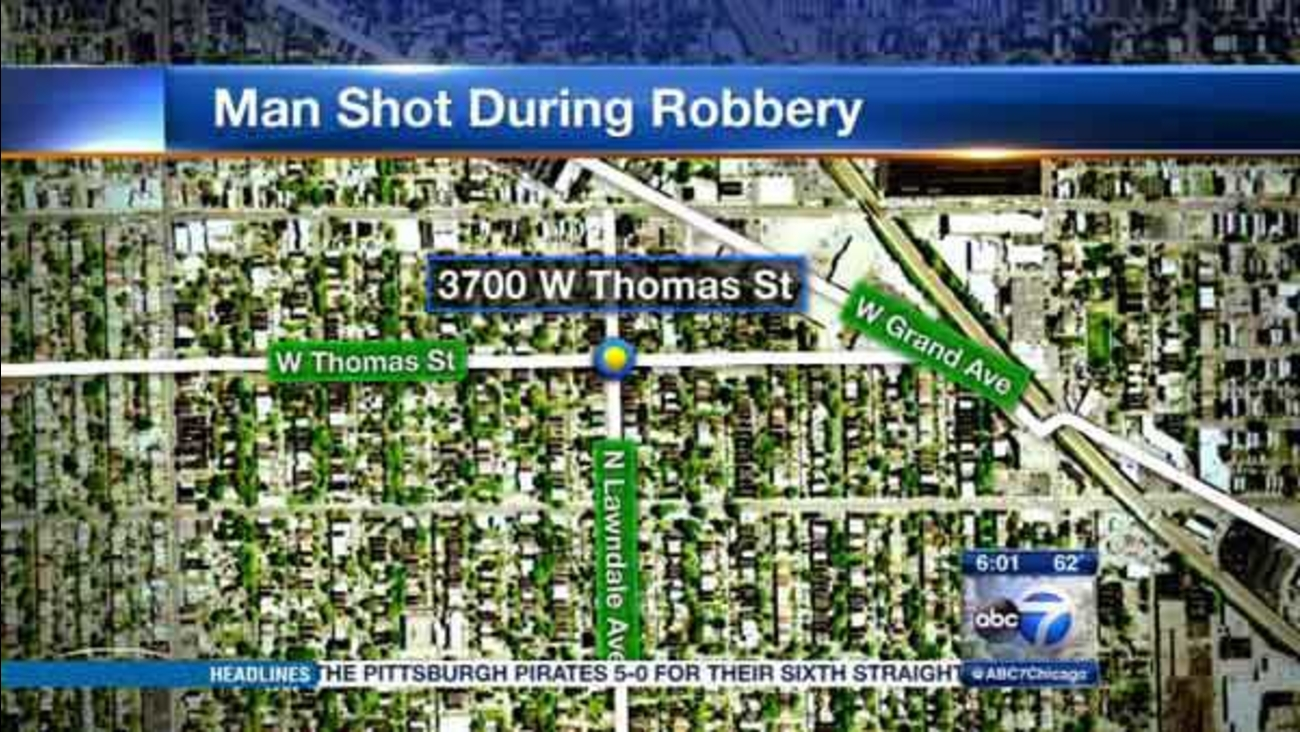 A 62-year-old man was shot and robbed in Chicago's Humboldt Park neighborhood.