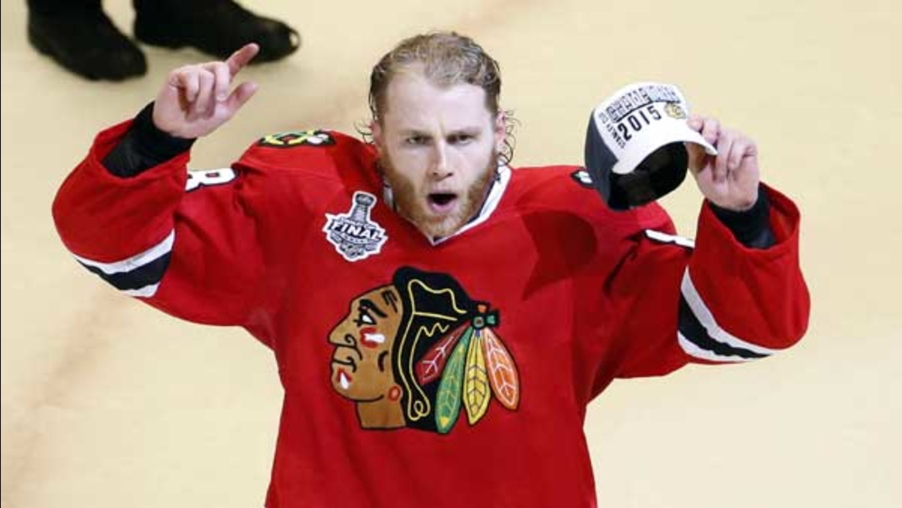 Chicago Blackhawks' Patrick Kane celebrates after defeating the Tampa Bay Lightning in Game 6 of the NHL hockey Stanley Cup Final series in Chicago.