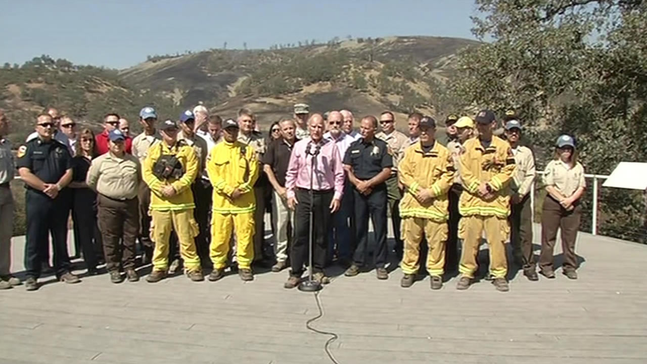 Speaking about California's wildfires at Clear Lake, Calif., on Thursday, Aug. 6, 2015, Gov. Jerry Brown called on Republicans to address climate change at their first GOP debate.