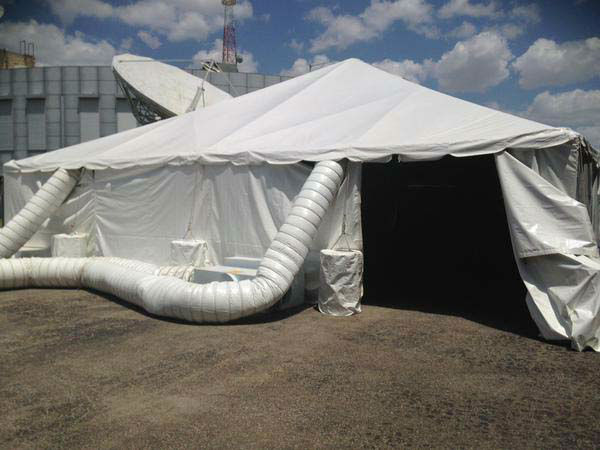 """<div class=""""meta image-caption""""><div class=""""origin-logo origin-image none""""><span>none</span></div><span class=""""caption-text"""">When you have Operation Backpack in 100 degree heat, you need a tent with AC! (KTRK Photo)</span></div>"""
