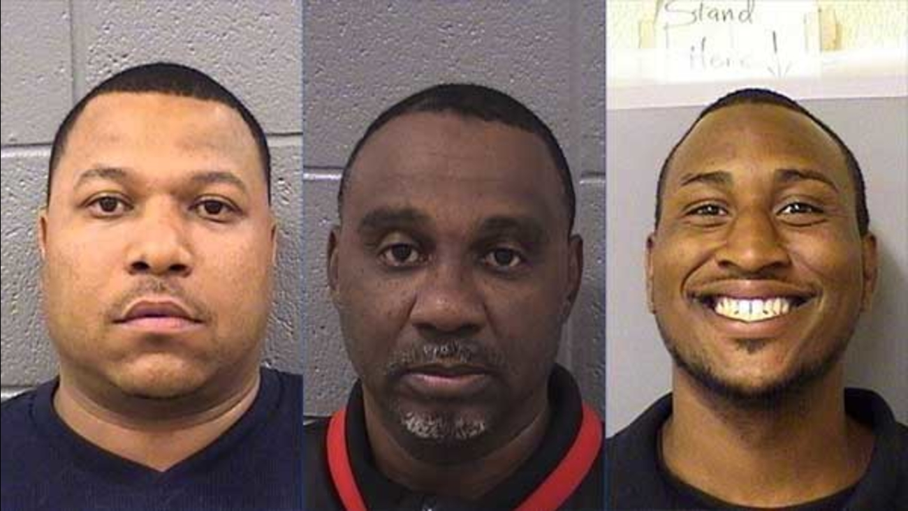 Tyrone Noel, 39, Oscar Taylor, 53, and William Taylor, 27, were charged after investigators said they were caught watching porn on a cell phone.