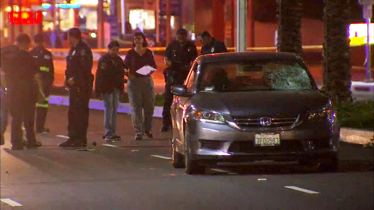 A 20-year-old man riding a skateboard was killed after he was struck by a car at an intersection in Downey on Friday, Aug. 7, 2015.