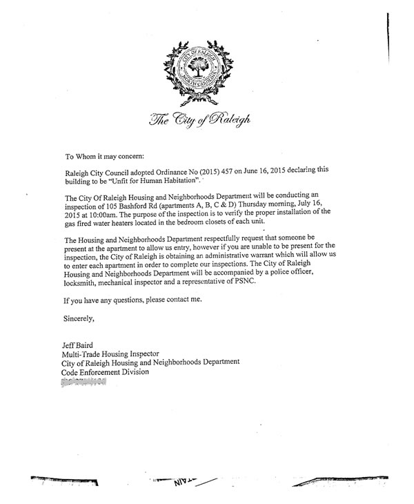 City of Raleigh letter