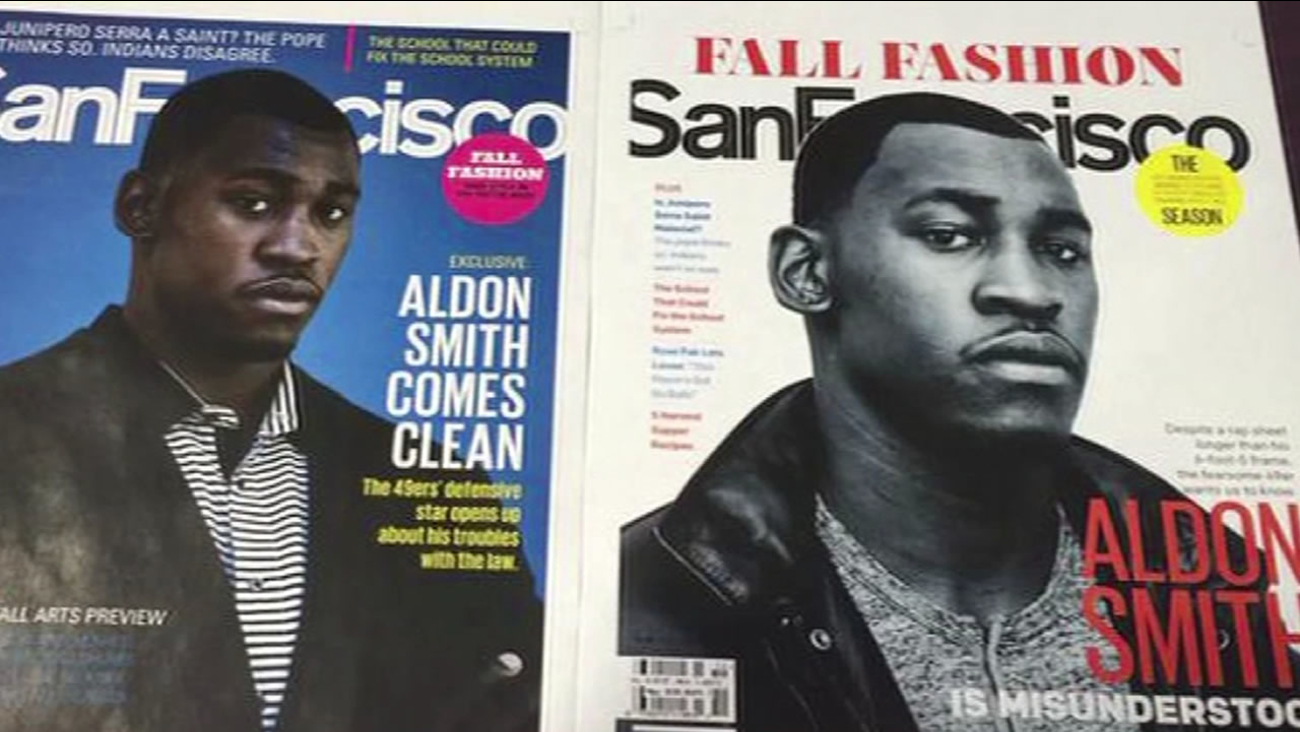 Planned cover for San Francisco magazine's September 2015 cover prior to Aldon Smith's arrest.