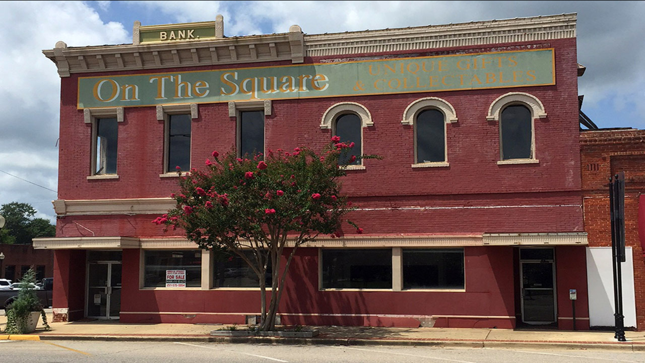 The old bank building that once housed the office of author Harper Lee's father A.C. Lee on the courthouse square in Monroeville, Ala.