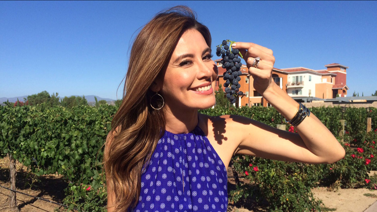 Vista L.A.'s Patricia Lopez holds up a pair of grapes while visiting South Coast Winery Resort & Spa in the Temecula Valley.