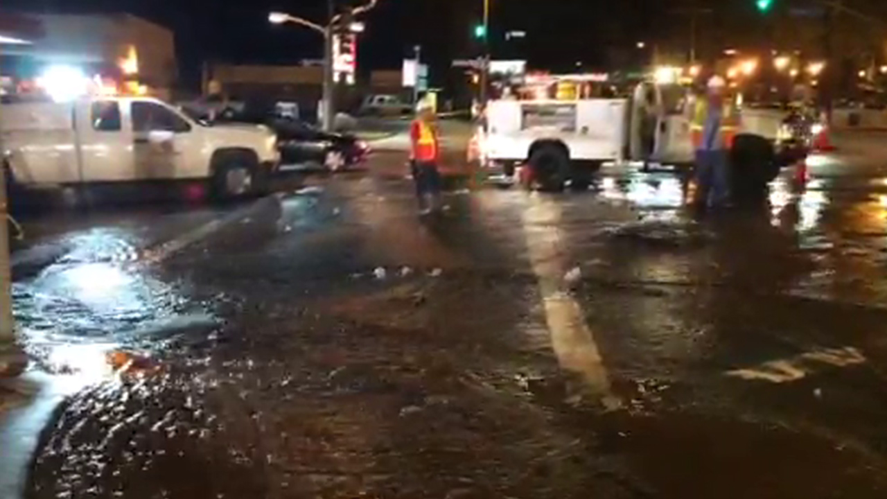 Studio City streets were flooded Saturday night after a 30-inch water main ruptured on Saturday, Aug. 8, 2015.