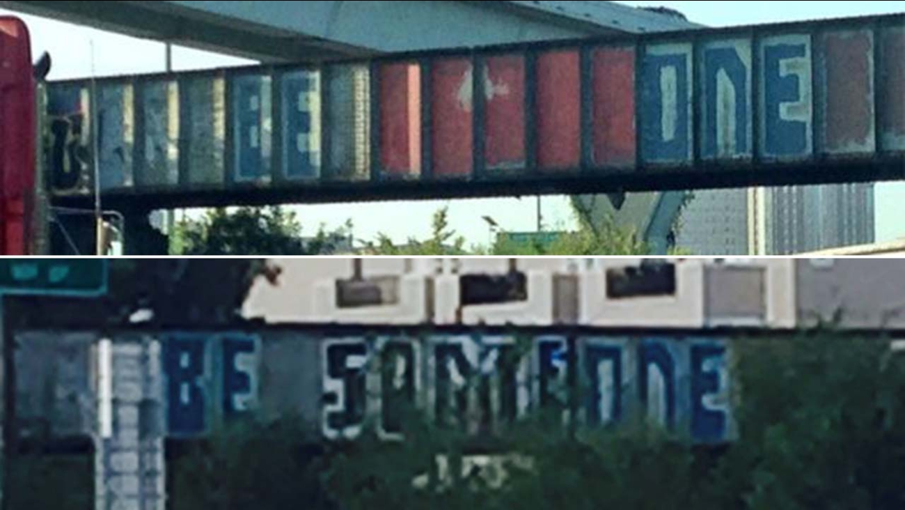 """""""Be Someone"""" graffiti is back after a short stint as """"Be One."""""""