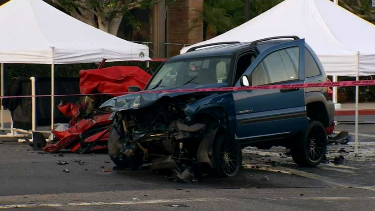 Three people were killed in a head-on collision in the 8300 block of N. Haskell Avenue in the North Hills area of Los Angeles Sunday, Aug. 9, 2015.