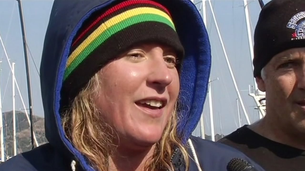 Kim Chambers, 38, became the first woman to complete the swim from the Farallon Islands to San Francisco on Saturday, August 8, 2015.