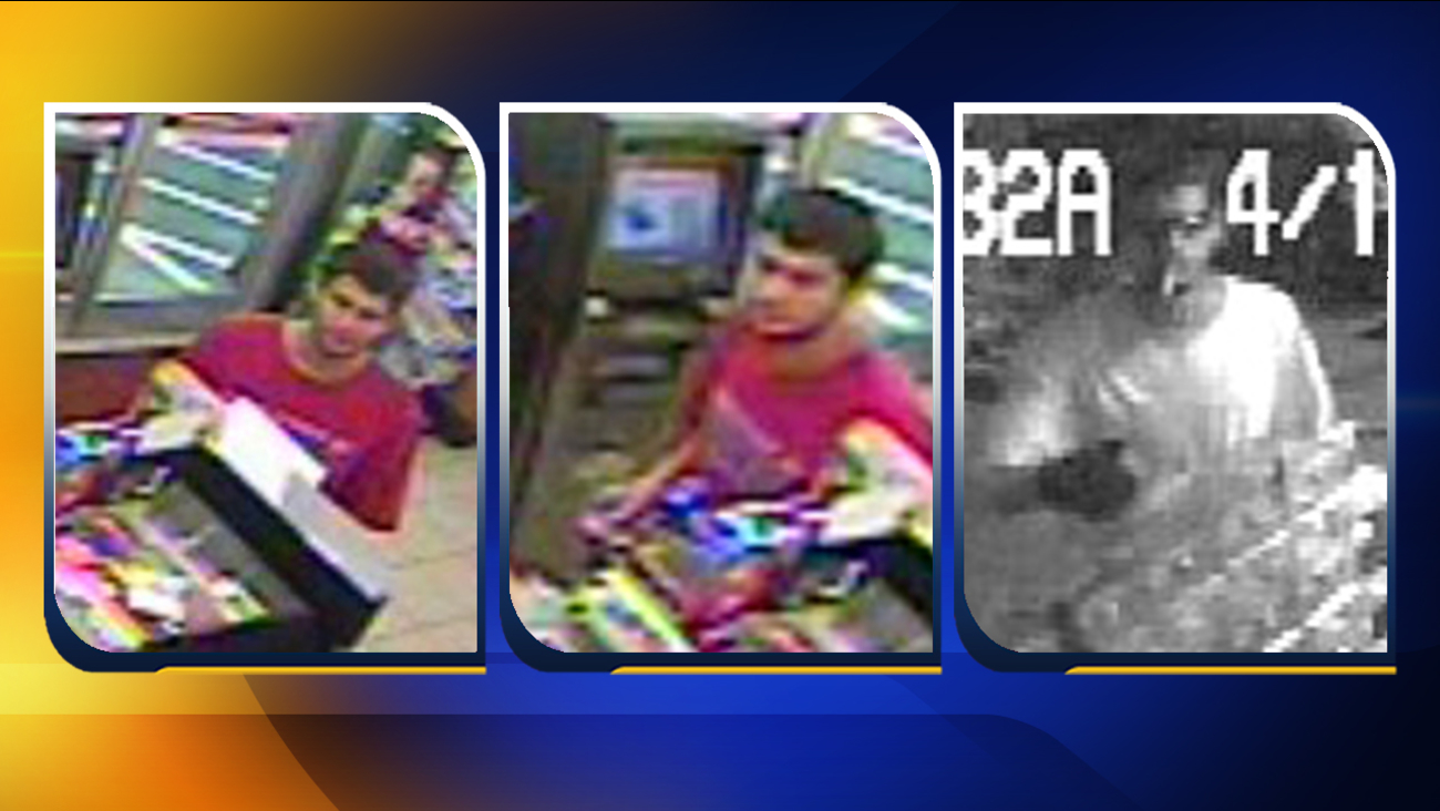 Surveillance photos from the burglary (far right) and the suspect's attempt to redeem the tickets (leftand center)