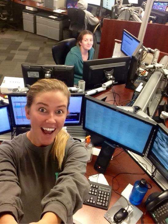 """<div class=""""meta image-caption""""><div class=""""origin-logo origin-image none""""><span>none</span></div><span class=""""caption-text"""">Producers Alison and Kathy playing with a selfie stick in the newsroom (KTRK Photo)</span></div>"""