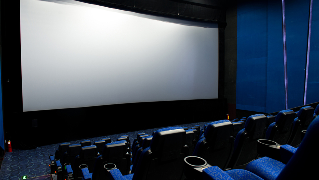 A movie theater room is shown above in an undated photo.