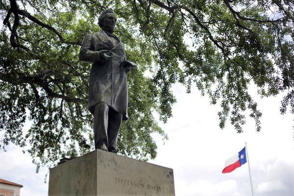 "<div class=""meta image-caption""><div class=""origin-logo origin-image none""><span>none</span></div><span class=""caption-text"">A statue of Jefferson Davis is seen on the University of Texas campus, Tuesday, May 5, 2015, in Austin, Texas. (AP Photo/ Eric Gay)</span></div>"