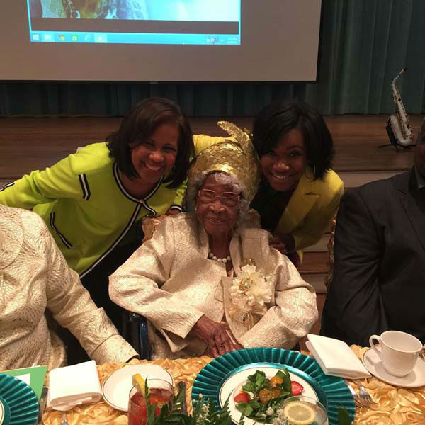 """<div class=""""meta image-caption""""><div class=""""origin-logo origin-image none""""><span>none</span></div><span class=""""caption-text"""">Melanie and Samica attended the birthday party of a 110 year old woman! (KTRK Photo)</span></div>"""