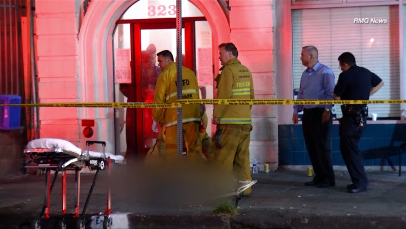 A man was shot and killed in the Skid Row area of Los Angeles on Tuesday, Aug. 11, 2015.