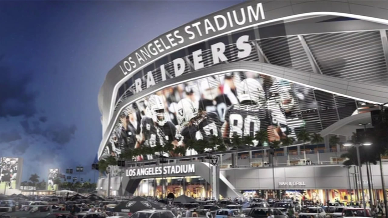 Illustration of the proposed Los Angeles Stadium where the Oakland Raiders would share the stadium with the San Diego Chargers in Carson, Calif.