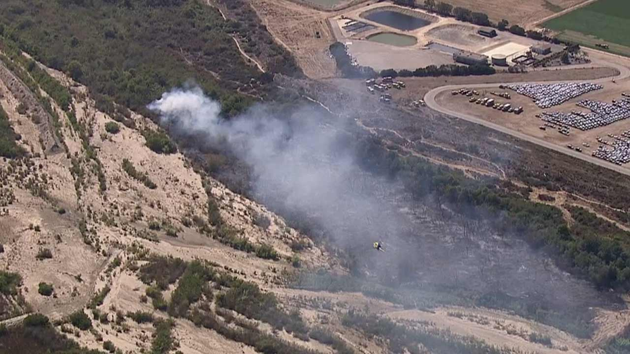 A brush fire broke out in the Santa Clara River bottom in Oxnard Tuesday, Aug. 11, 2015.