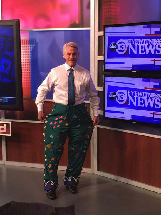 """<div class=""""meta image-caption""""><div class=""""origin-logo origin-image none""""><span>none</span></div><span class=""""caption-text"""">Tom Koch showing off his """"bad pants"""" that he wore for Texas Children's (KTRK Photo)</span></div>"""