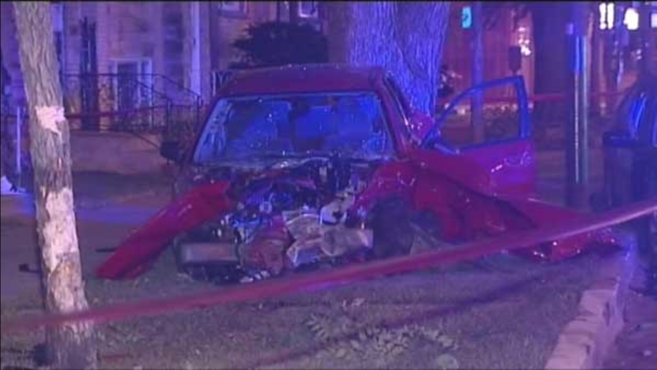 A pregnant woman was seriously injured after a speeding car crashed into hers and pushed it into a tree on Chicago's North Side.