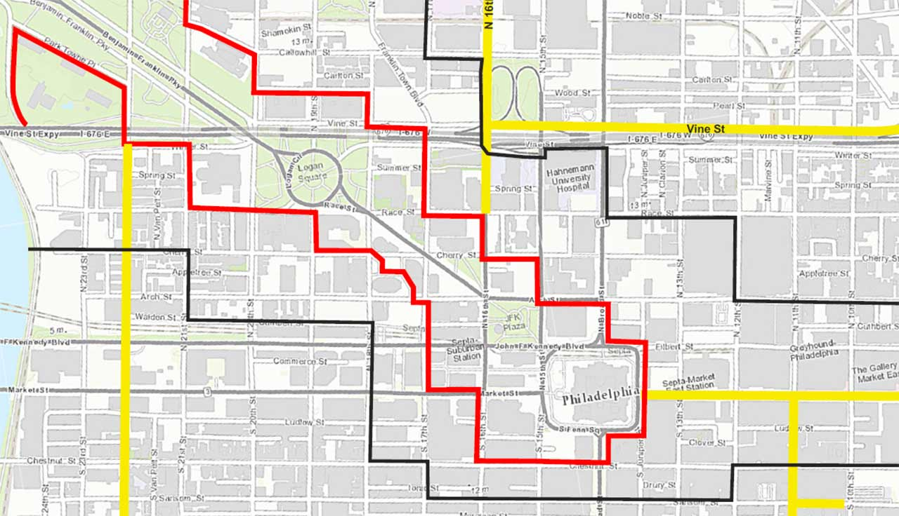 """<div class=""""meta image-caption""""><div class=""""origin-logo origin-image none""""><span>none</span></div><span class=""""caption-text"""">Pictured:  The Security Perimeter (inside red outline) and Secure Vehicle Zone (inside black line) for Pope Francis' visit to Philadelphia.  CLICK above arrows to expand.</span></div>"""