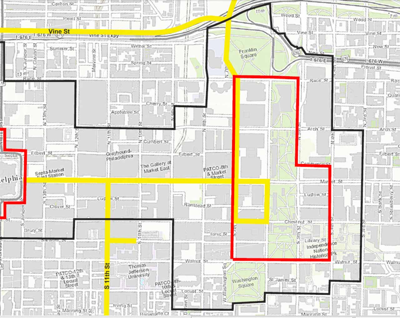 "<div class=""meta image-caption""><div class=""origin-logo origin-image none""><span>none</span></div><span class=""caption-text"">Pictured:  The Security Perimeter (inside red outline) and Secure Vehicle Zone (inside black line) for Pope Francis' visit to Philadelphia.  CLICK above arrows to expand.</span></div>"