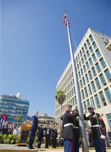 """<div class=""""meta image-caption""""><div class=""""origin-logo origin-image none""""><span>none</span></div><span class=""""caption-text"""">Secretary of State John Kerry, left, and other dignitaries watch the raising of the U.S. flag over the newly reopened embassy in Havana. (AP Photo/Pablo Martinez Monsivais,Pool) (AP Photo/ Pablo Martinez Monsivais)</span></div>"""