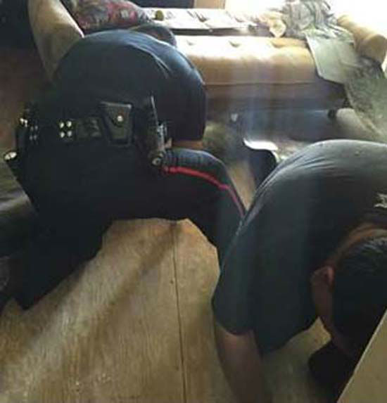 "<div class=""meta image-caption""><div class=""origin-logo origin-image none""><span>none</span></div><span class=""caption-text"">Pasadena police move into action to rescue a German Shepherd trapped under a house (Pasadena Police Department)</span></div>"