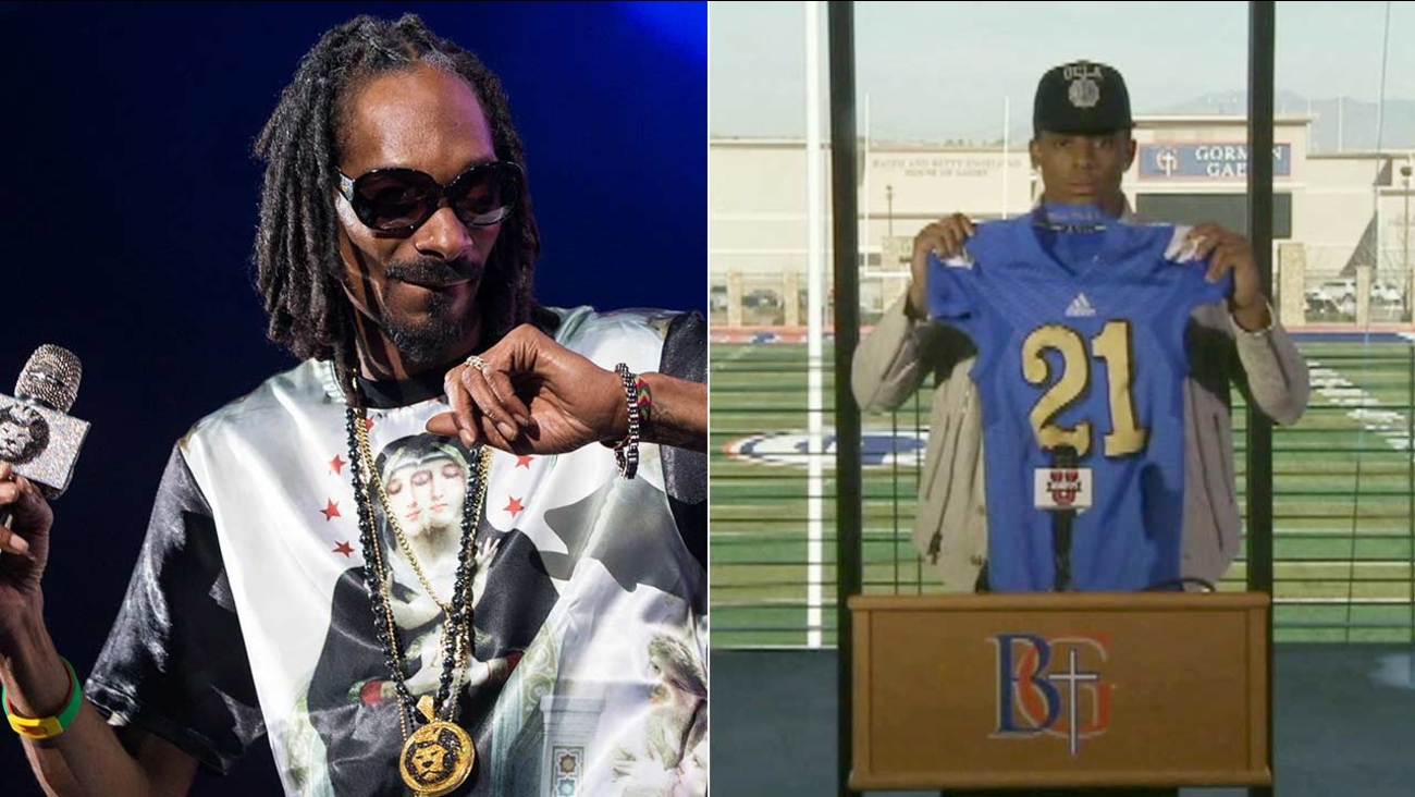 Cordell Broadus, right, the son of Snoop Dogg, seen performing in Irvine in this 2013 photo, is quitting UCLA's football team to focus on pursuing a career in film production.